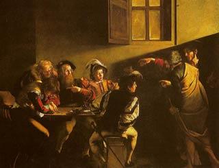 La vocazione di Matteo di Caravaggio