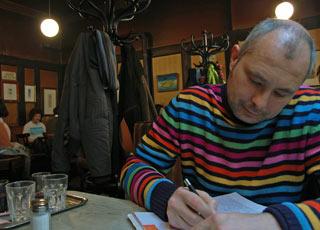 Paolo Ghiotto al caffè Hawelka di Vienna