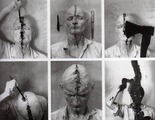Gunther Brus Self Painting Self Mutilation 1965