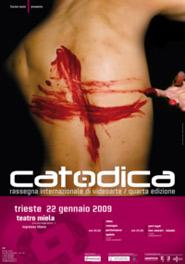 Locandina della quarta edizione di Catodica, rassegna di videoarte organizzata da Fucine Mute e dal Gruppo 78 in collaborazione con Trieste Film Festival