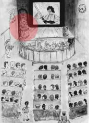 Nel cerchi rosso, il benshi durante la rappresentazione di un film muto in Giappone