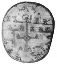 l'asse del mondo disegnato sul tamburo di uno sciamano