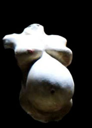 Una protesi di busto femminile incinta.