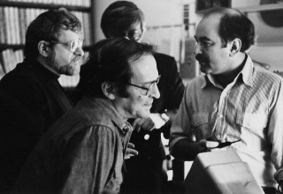 Sidney Lumet, front center, in the editing room for Network (1976), with, from left, screenwriter Paddy Chayefsky, producer Howard Gottfried and editor Alan Heim. Photo courtesy of Alan Heim.