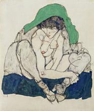 Egon Schiele - Donna accovacciata con foulard verde, 1914