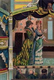 Cartolina d'epoca, donne a teatro