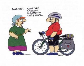 Una vignetta di Altan - Tre uomini in bicicletta