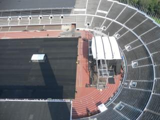 Il palco di Springsteen in fase di montaggio visto dalla torre dell'Olimpiastadion di Helsinki