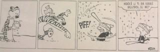 Kalvin i Hobs igraju bejzbol
