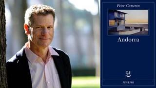 Peter Cameron accanto alla copertina